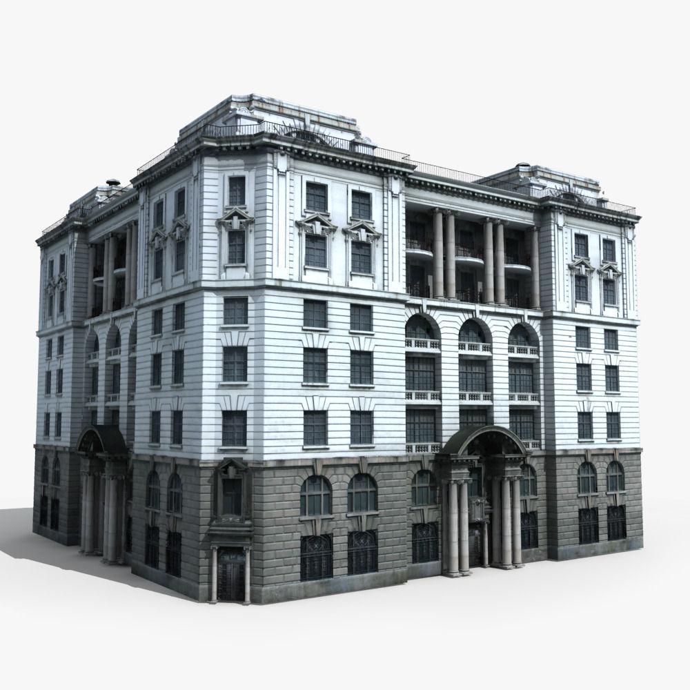 European building 13 3d model max obj fbx for 3d max building