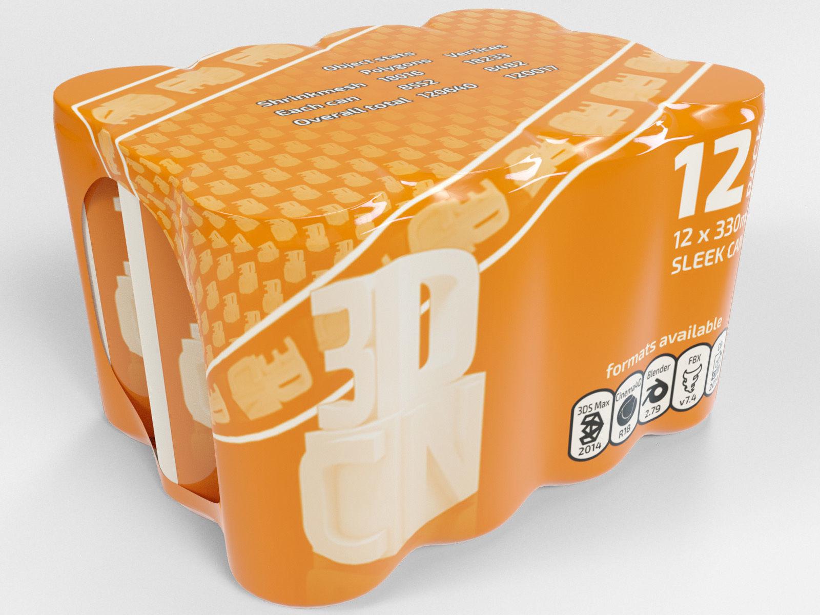 12 Shrinkwrapped 330ml Sleek beverage cans