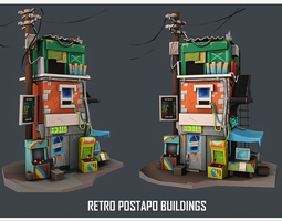realtime DANBEE -Retro Building low-poly 3D model