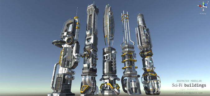 scifi buildings - animated and modular 3d model low-poly rigged animated max obj 3ds fbx mtl tga 1
