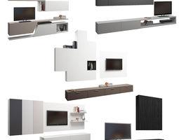 3D model Set of five TV shelfs
