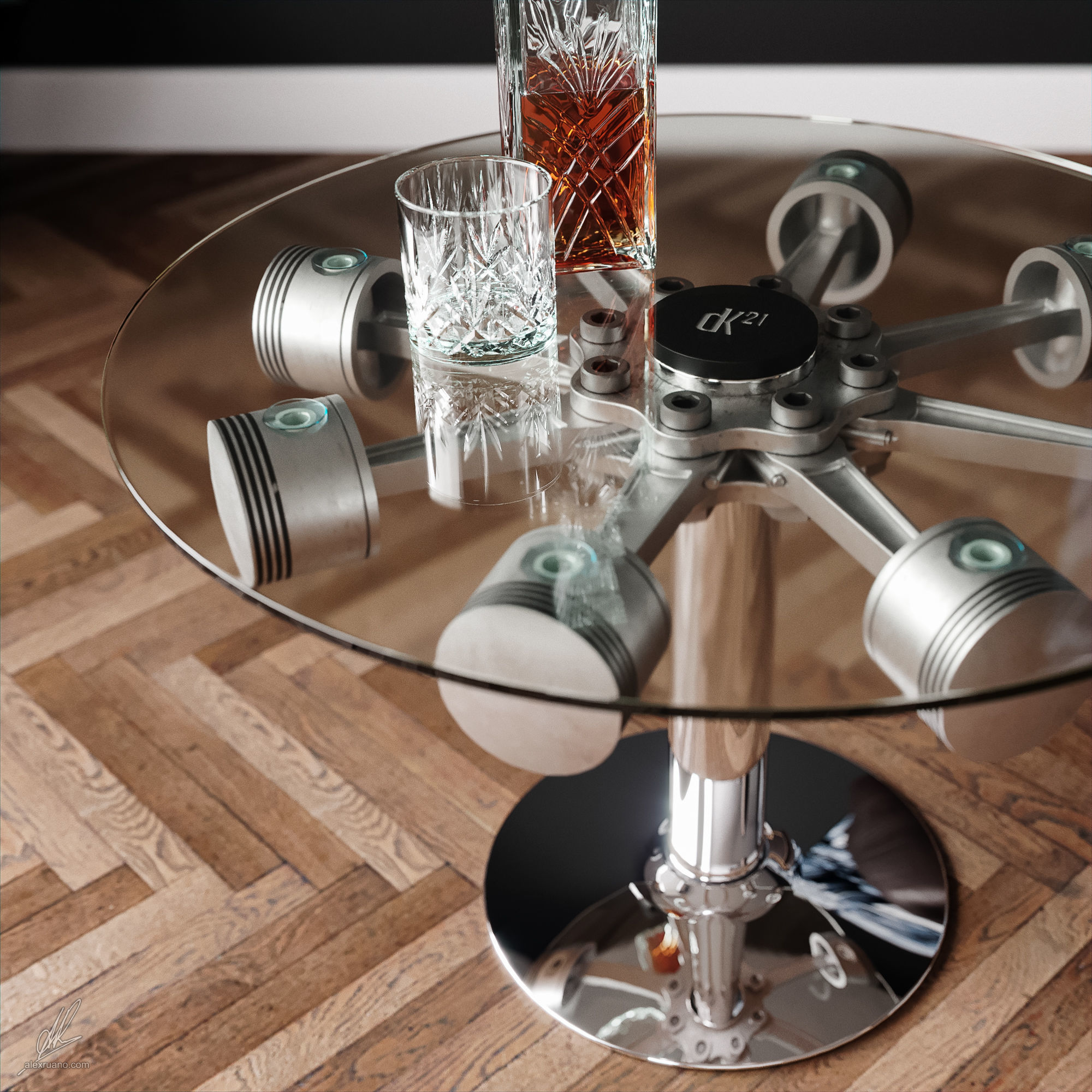 3d Model Piston Coffee Table Cgtrader