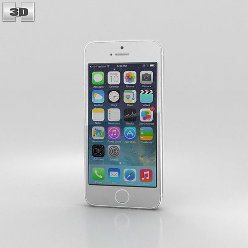 Apple IPhone 5S Silver White 3D Model