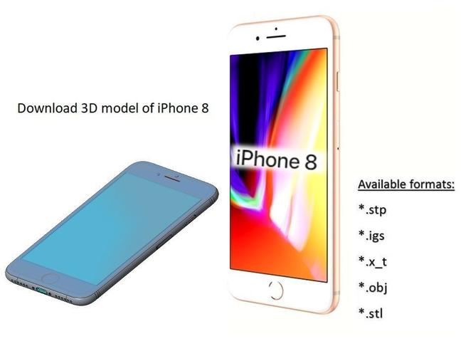 iphone 8 - original dimensions 3d model 3d model max obj mtl stl ige igs iges stp 1