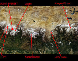 3D Himalaya Mountains Mount Everest Area