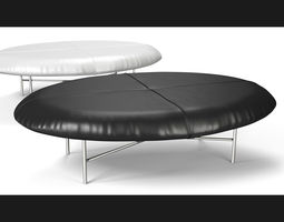 Leather Foot Stool - Black and White 3D model