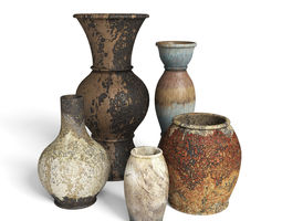 Old Rustic Decor Vase Set 3D model