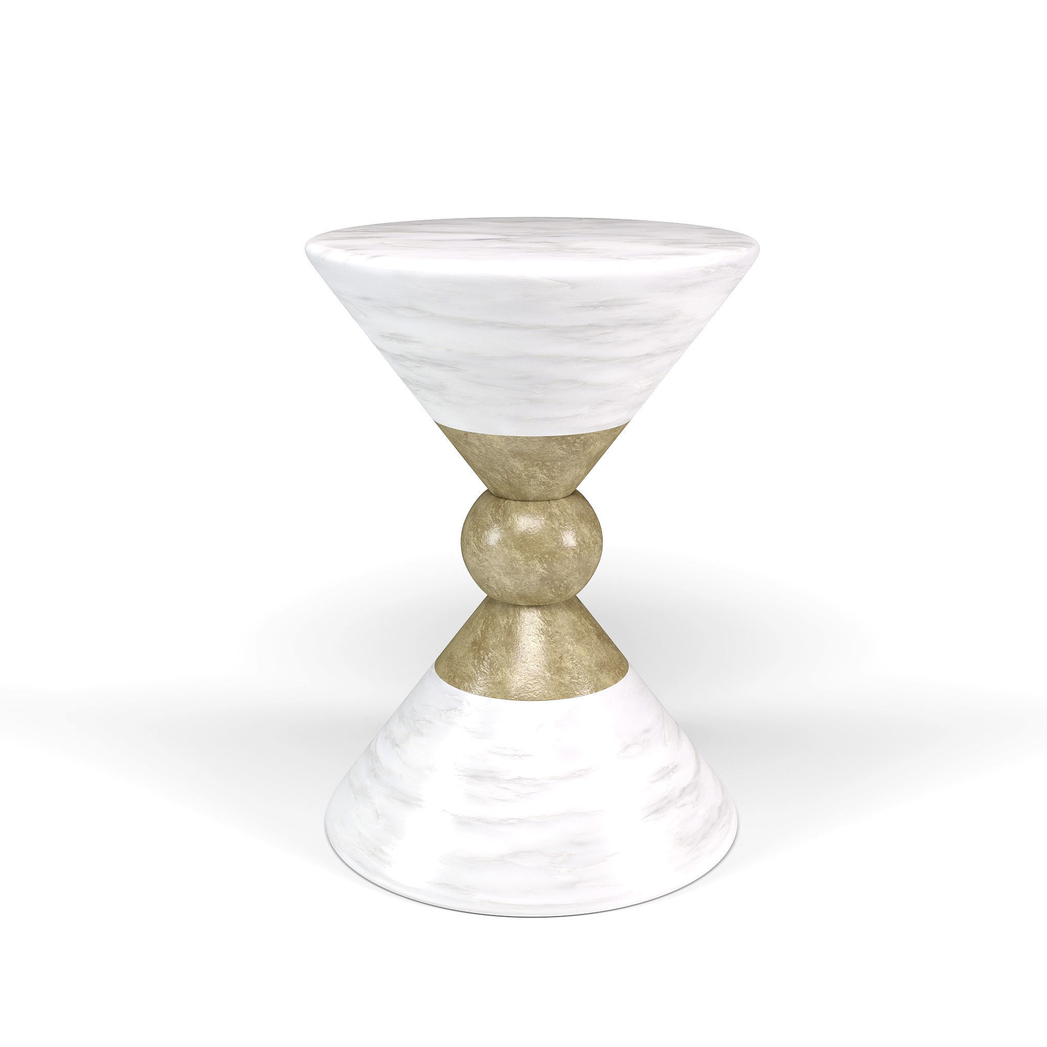 Modern Round White And Gold Side Table Model