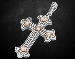 3D print model Beautiful cross with stones in two colors