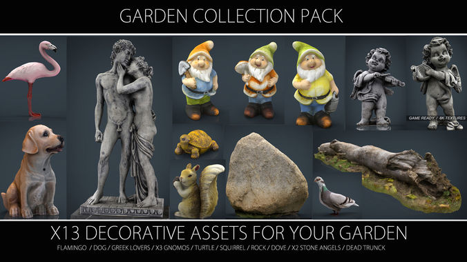 garden collection pack 3d model max obj fbx ma mb stl 1