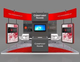 Exhibition stall 3d model 5x5 mtr 3 sides open