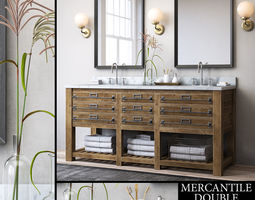 3D RH MERCANTILE DOUBLE VANITY SINK