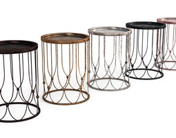 3D Metallic Side Table Collection - Antique Look
