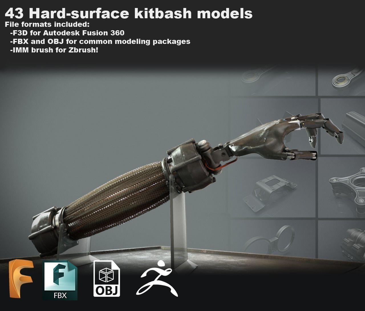 3D Free Sci-fi kitbash set for Fusion 360 - Zbrush - FBX 1