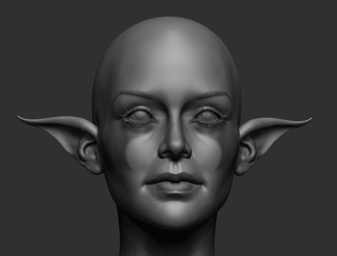 elf head 3d model obj mtl ztl 1