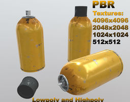 Aerosol spray can - yellow scratched paint 3D asset