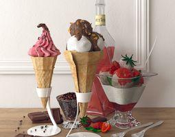 3D model ice cream set