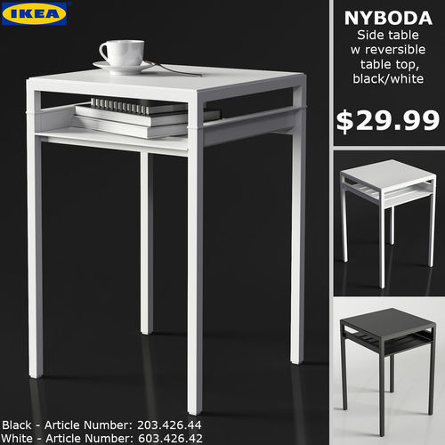 3d ikea nyboda table rectangular cgtrader. Black Bedroom Furniture Sets. Home Design Ideas