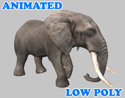 Low poly Elephant Animated - Game Ready 3D asset