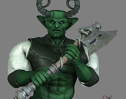 fantasy orc Rigged for Maya 3D