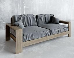 3D Walnut Wood Furniture SOFA
