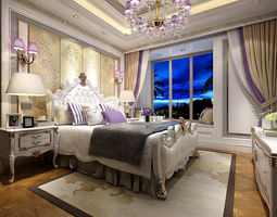 3D Stylish bedroom complete 124