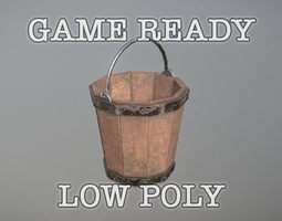 Bucket low poly game ready 3D asset