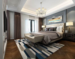 3D model Stylish bedroom complete 185