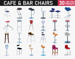 3D asset Cafe and Bar Chairs
