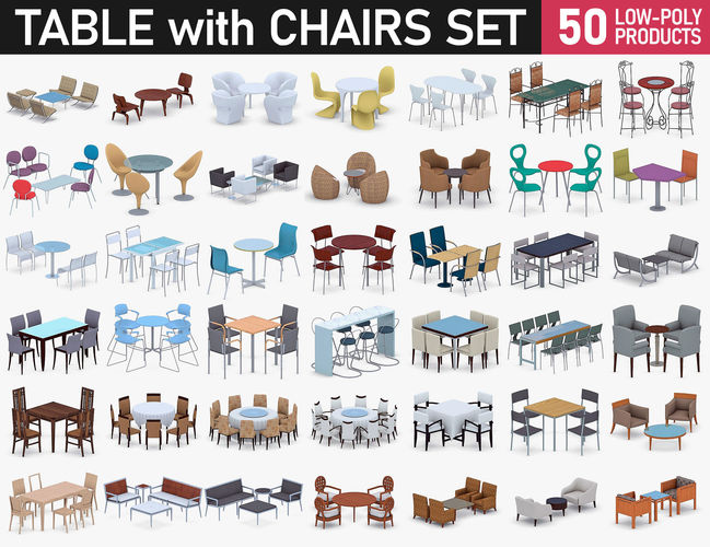 table with chairs collection 3d model max obj 3ds fbx dae mtl 1