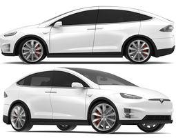 3D 2017 Tesla Model X Solid White - Pearl White Multi-coat