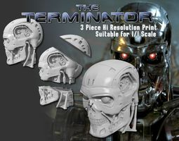 t-800 single and 3 piece high detail head 3d print model