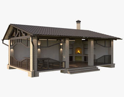 3D Gazebo With Barbecue