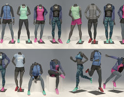 Woman mannequin Nike FULL PACK 3D model