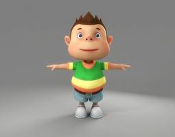 3D model baby Cartoon Boy Rigged