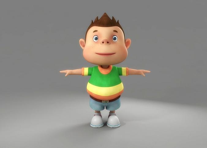 cartoon boy rigged 3d model rigged obj ma mb 1