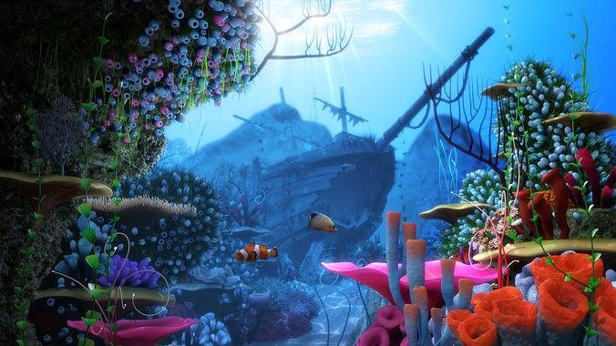 cartoon underwater ship scene 3d model obj mtl fbx ma mb tga mel 1