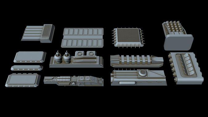 big greeble collection 2 3d model max 3ds fbx 1