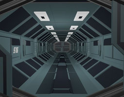 3D asset Low Poly Sci-fi Corridor with Animated Gate