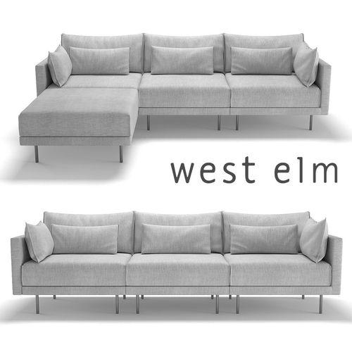 west elm halsey sectional sofa 3d model max obj mtl fbx 1