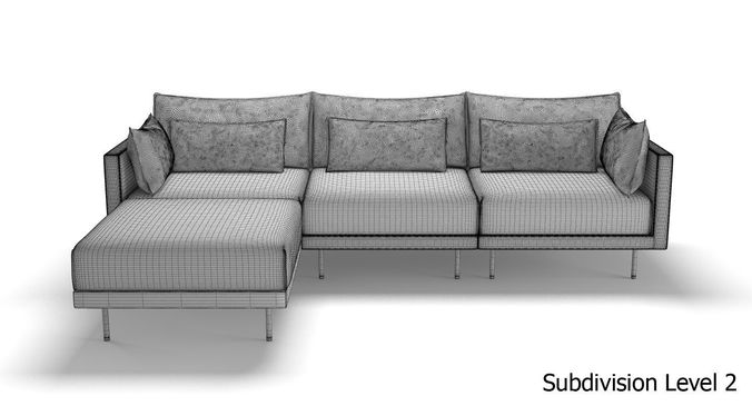 West Elm Halsey Sectional Sofa 3d Model Max Obj Mtl Fbx 14