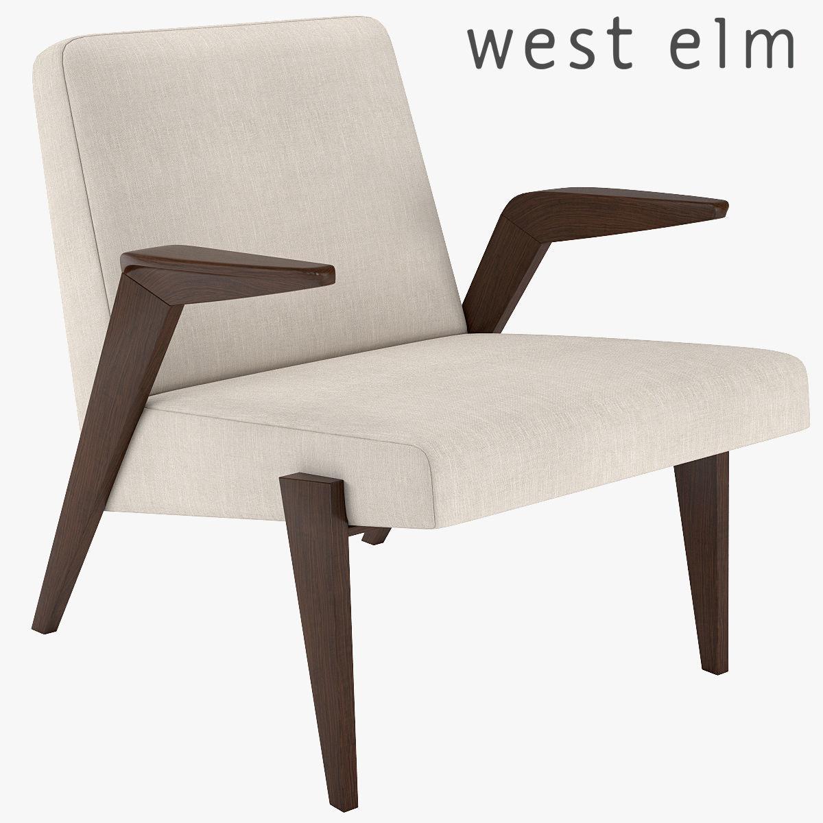 West Elm Gisele Mid Century Show Wood Chair 3d Model