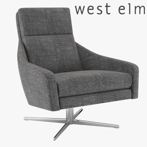 west elm austin swivel armchair 3d model max obj mtl fbx 1