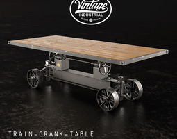 3D model retro Train Crank Table