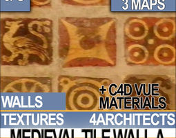 3D model Medieval Tile Wall Material A