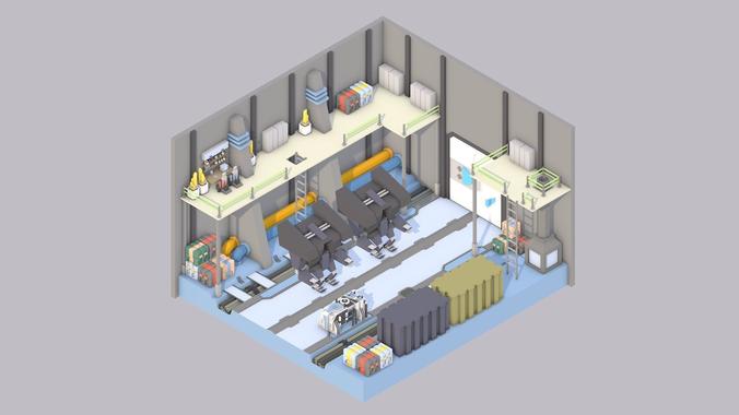 sci-fi room 3d model low-poly obj 3ds fbx c4d mtl 1