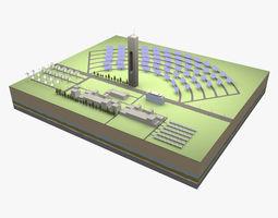 Solar power station 3D model