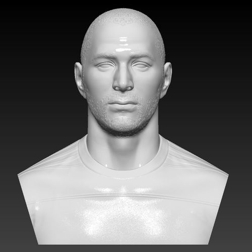 karim benzema real madrid bust - 3d sculpture handmade 3d model stl 1