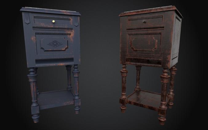 4k - pbr antique wooden nightstand - ue4 ready 3d model low-poly fbx tga uasset 1