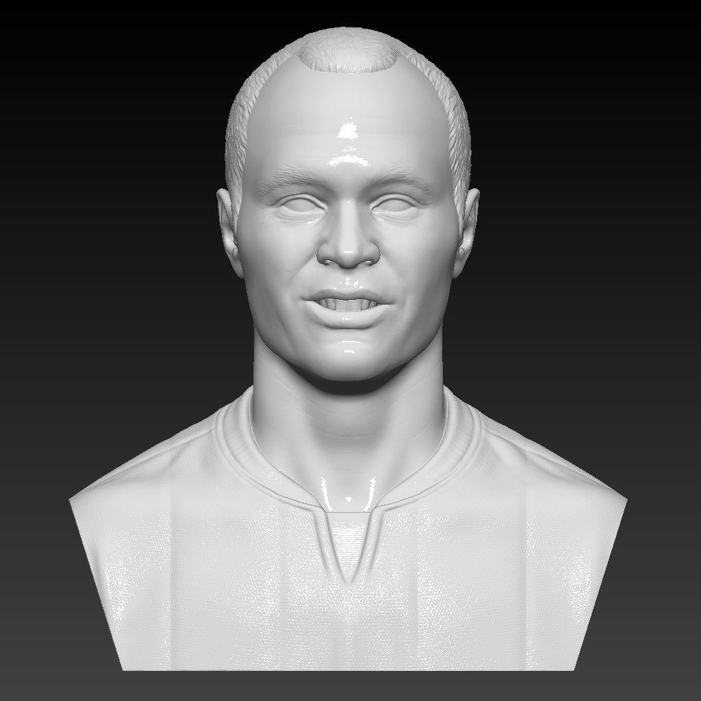 Iniesta bust 3D sculpture handmade 3D print model 3D print mode